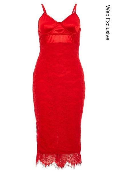 Red Satin Lace Strappy Midi Dress